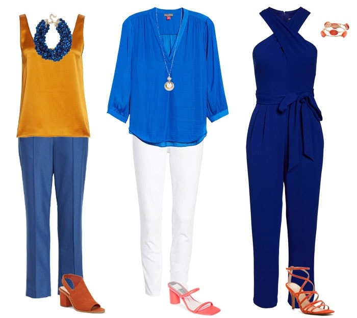 How to wear orange - ideas for blue color combinations | 40plusstyle.com