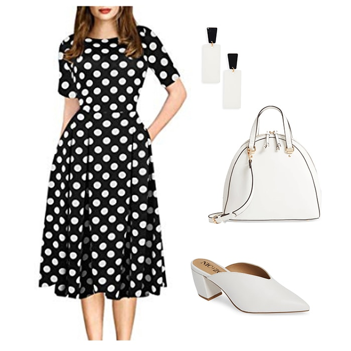 polka dot dresses to wear to a bridal shower | 40plusstyle.com