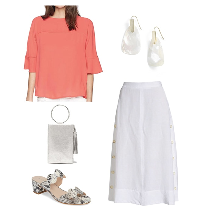 Wearing coral to a bridal shower | 40plusstyle.com