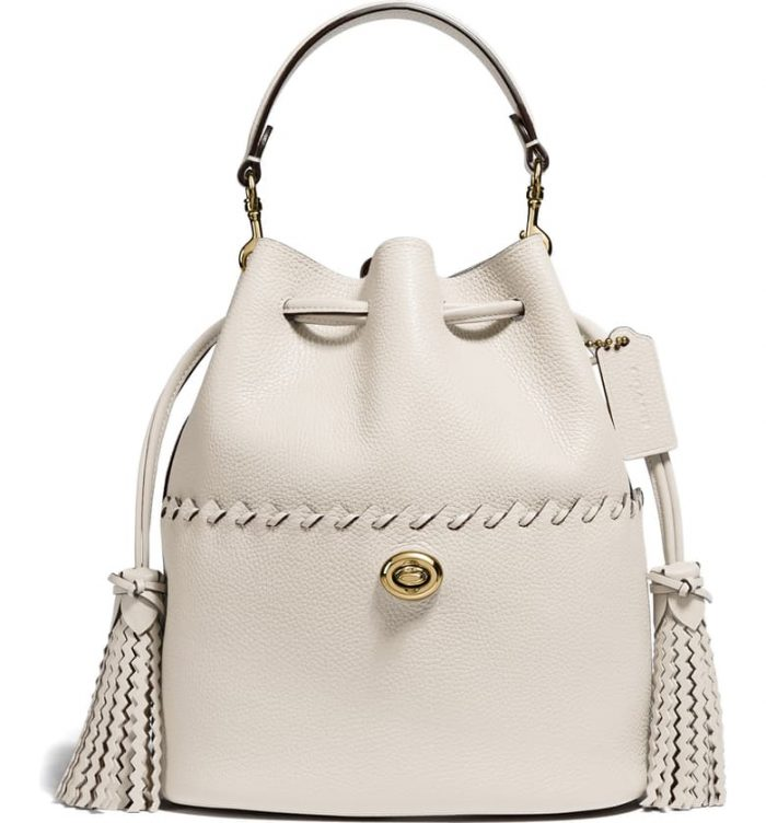 COACH 'Lora' whipstitch leather bucket bag | 40plusstyle.com