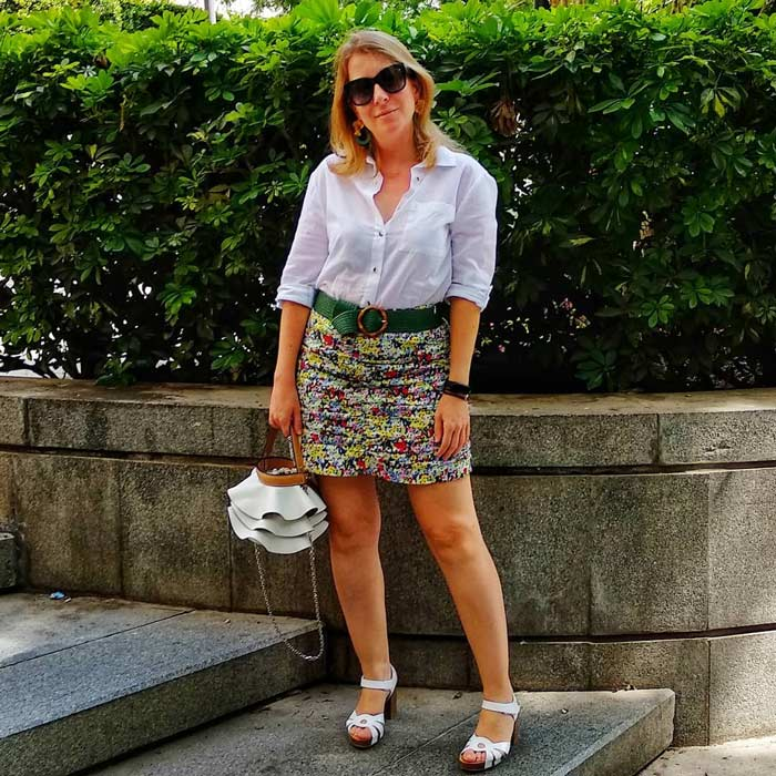 wearing with a shirt and skirt | 40plusstyle.com