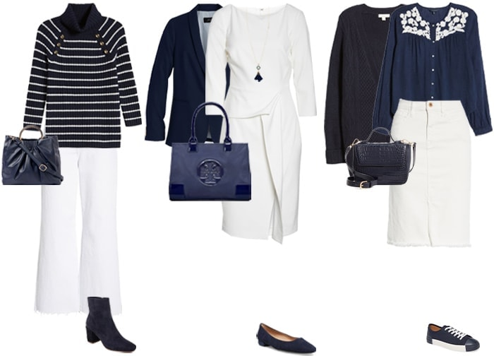 navy and white outfit ideas | 40plusstyle.com