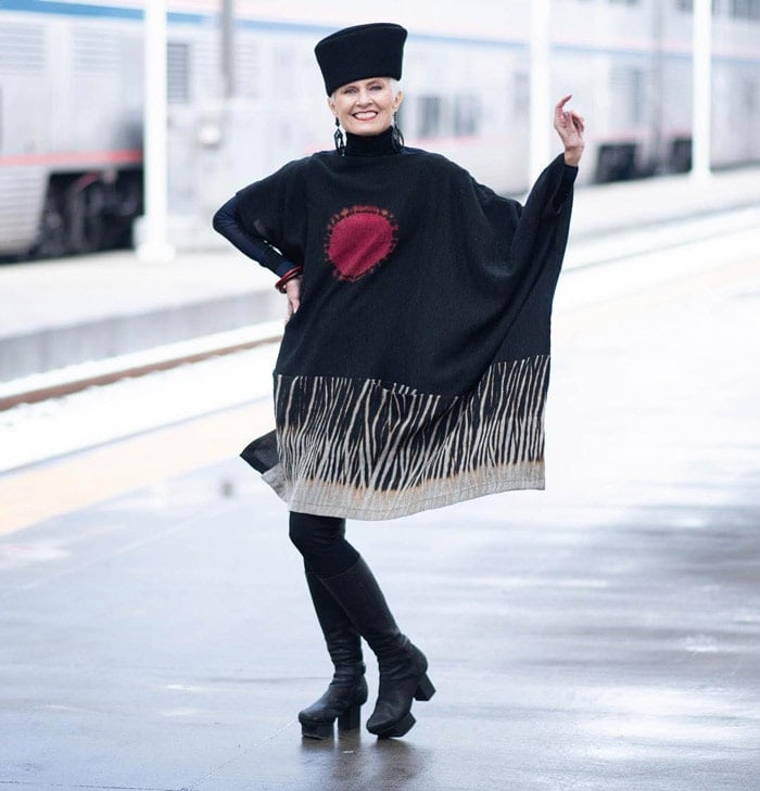 sweater tunic poncho with leggings and high boots | 40plusstyle.com