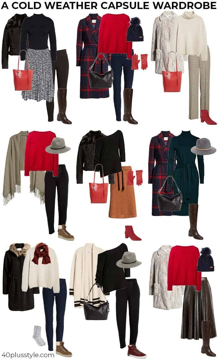 Capsule wardrobe of 9 cold weather outfits | 40plusstyle.com