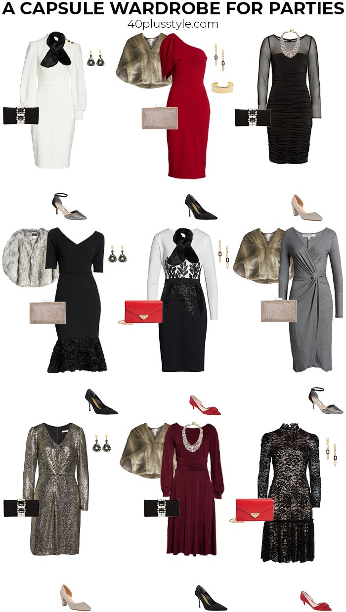 A capsule wardrobe of cocktail formal dresses | 40plusstyle.com