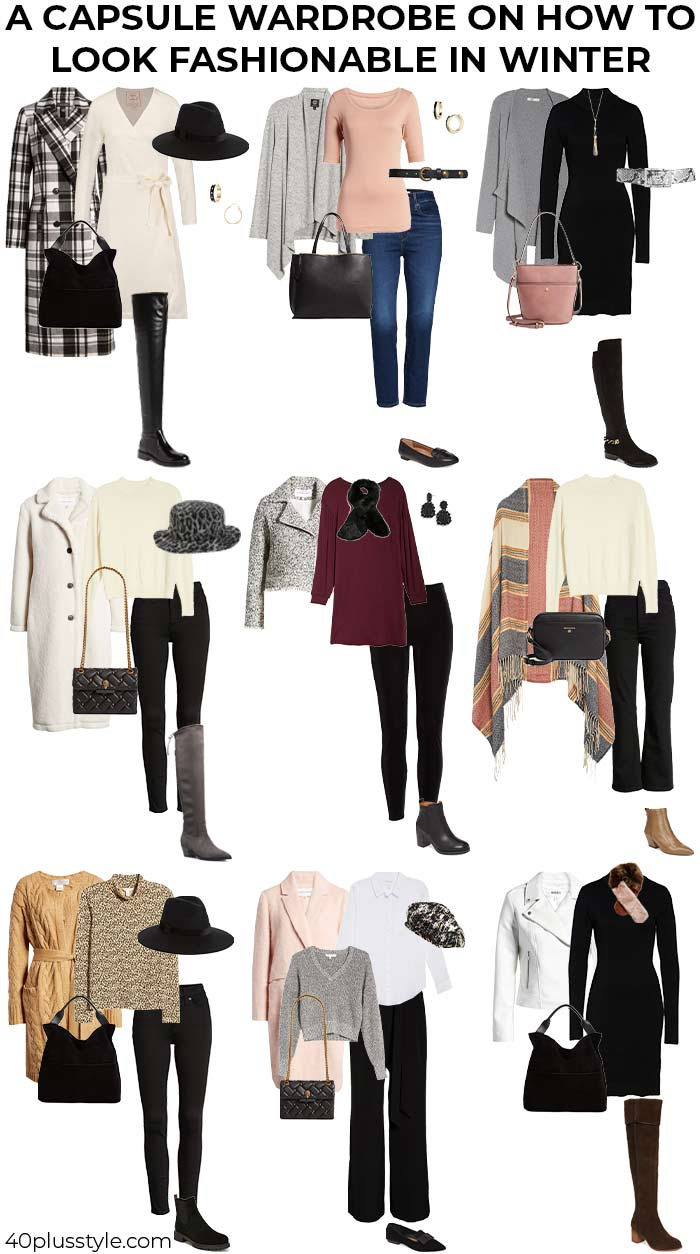 A capsule wardrobe on how to look fashionable this winter | 40plusstyle.com