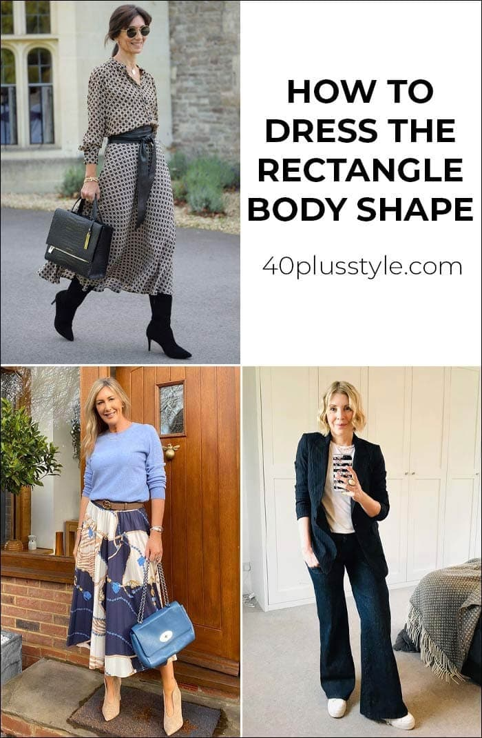 How to dress the rectangle body shape | 40plusstyle.com