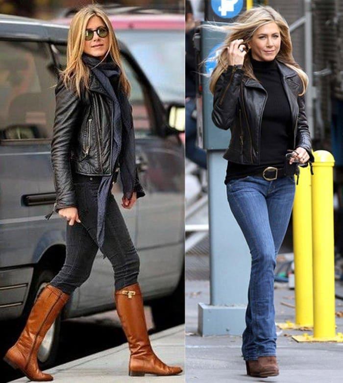 Jennifer Aniston fall look - moto jackets | 40plusstyle.com