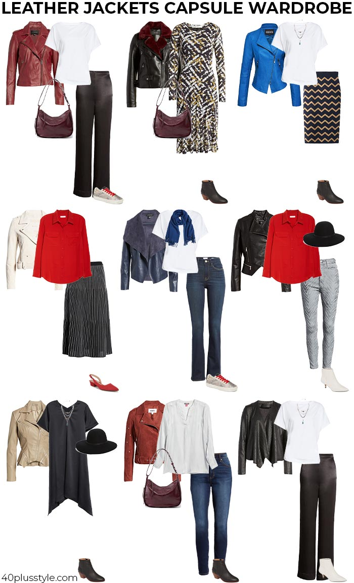 leather jackets capsule wardrobe | 40plusstyle.com