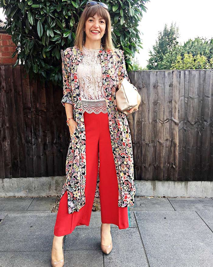 Lizzi Richardson wearing red and florals | 40plusstyle