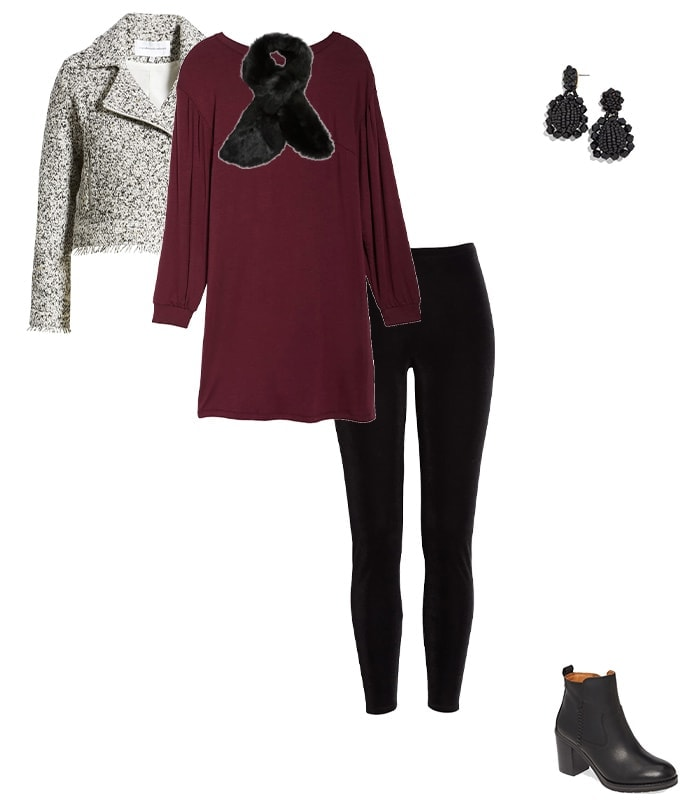 layering a moto jacket in your winter outfits for women | 40plusstyle.com