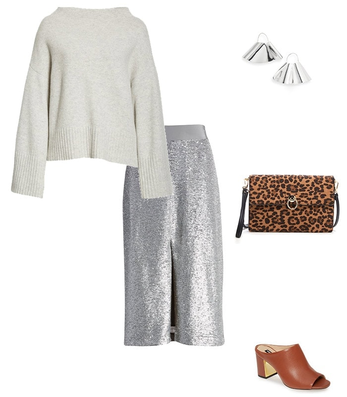 how to wear a sweater: With a sequin skirt | 40plusstyle.com