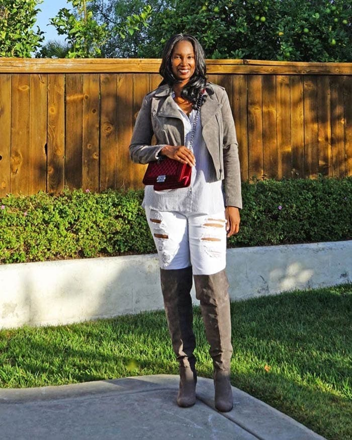 leather jacket worn with button down shirt, jeans and over the knee boots   40plusstyle.com