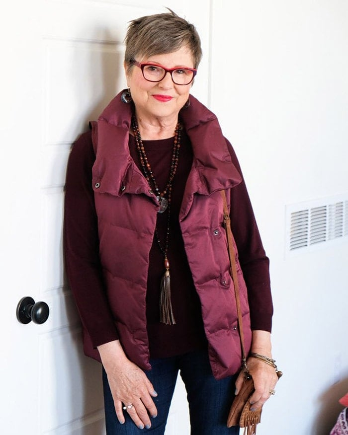 what glasses to buy after 40 - burgundy eyeglasses | 40plusstyle.com