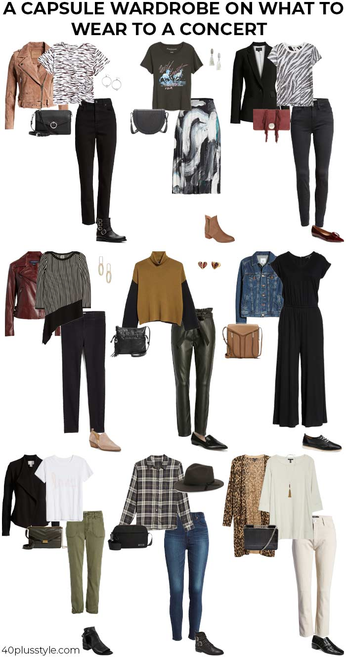 A capsule wardrobe on what to wear a concert | 40plusstyle.com