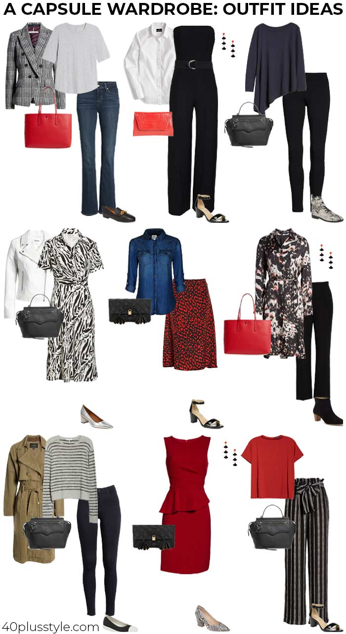 A capsule wardrobe of outfit ideas | 40plusstyle.com