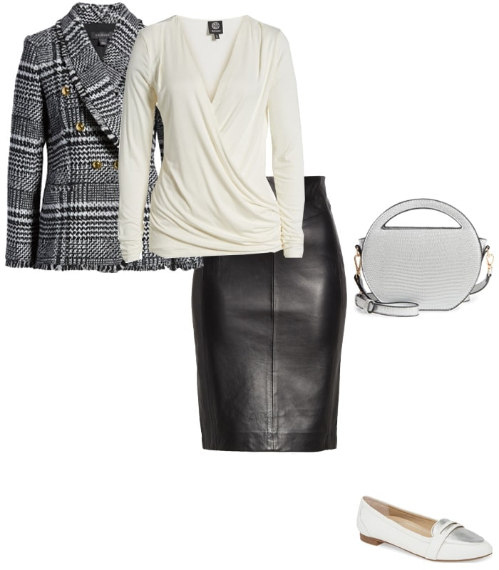 wearing a leather skirt with a blazer | 40plusstyle.com