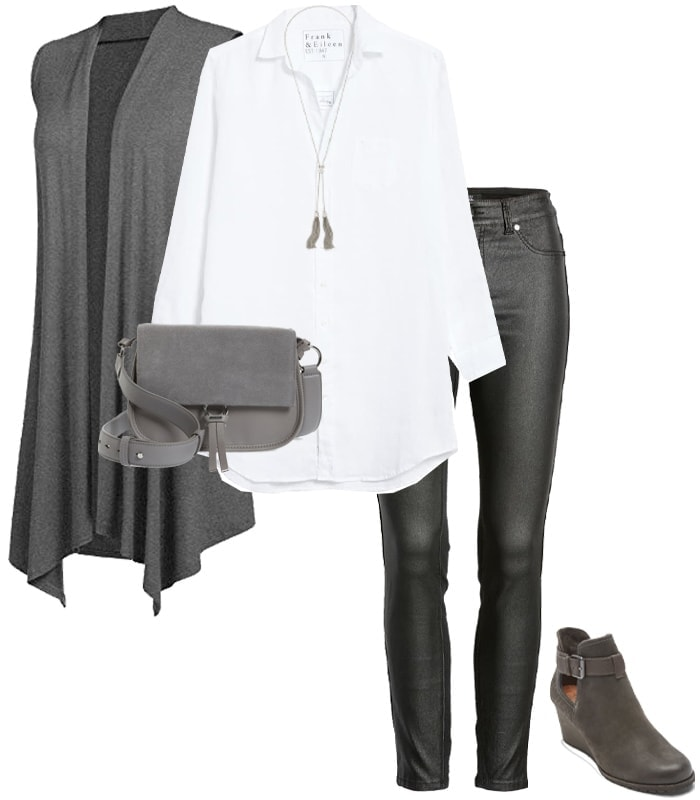 Outfit combining gray with black | 40plusstyle.com