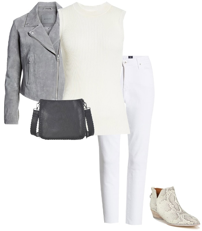Outfit combining gray with white | 40plusstyle.com