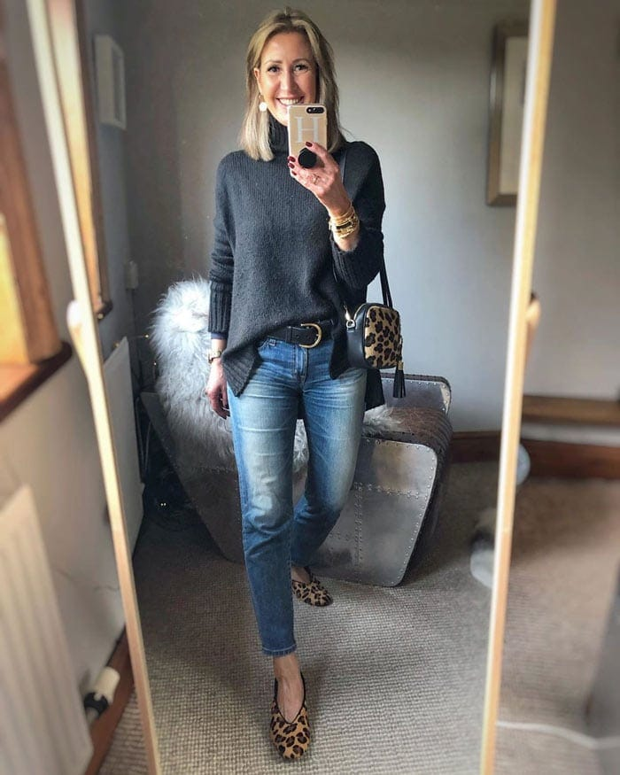 Faded denim and leopard print pumps | 40plusstyle.com