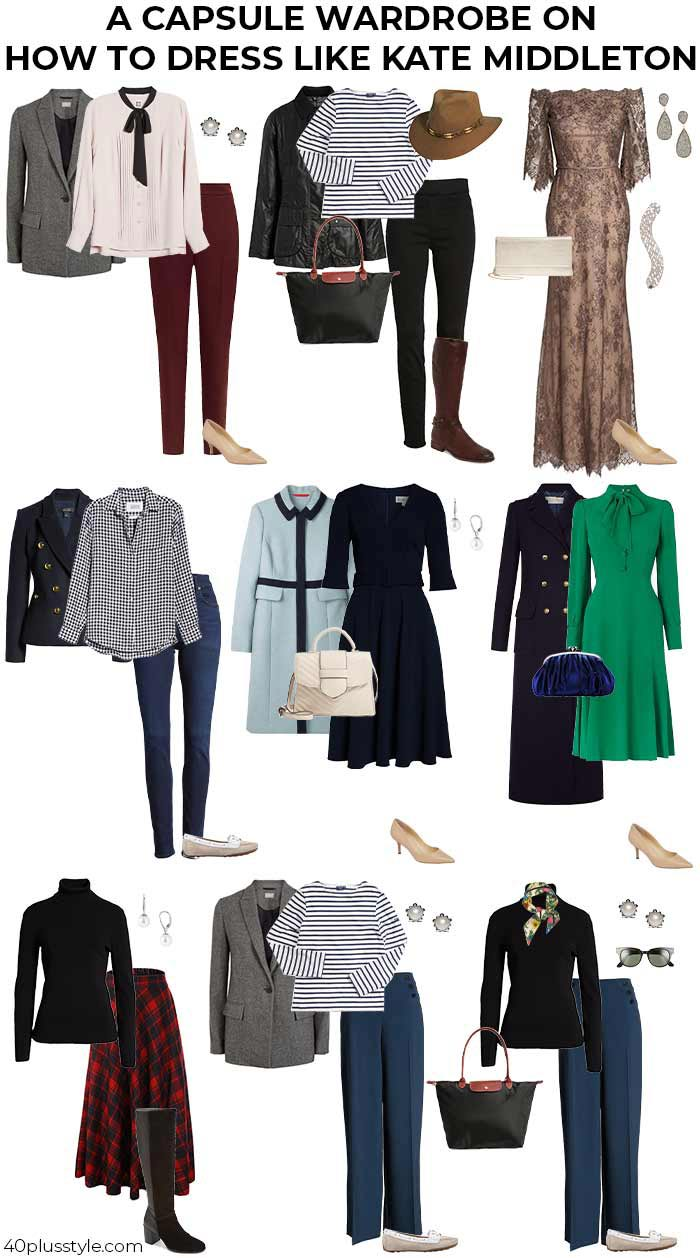 A capsule wardrobe on how to dress like the Duchess of Cambridge | 40plusstyle.com
