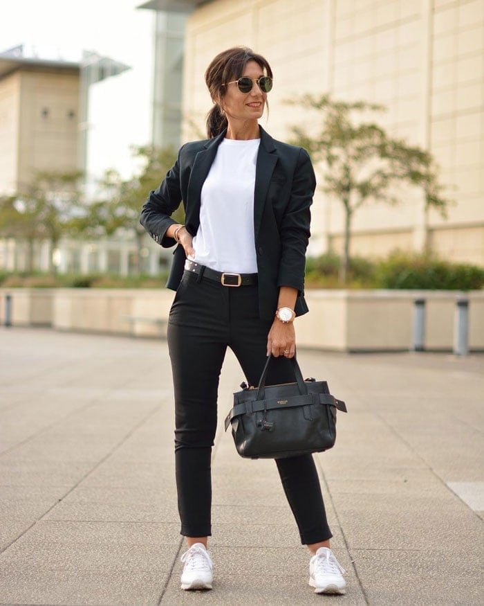 a monochrome outfit featuring a black blazer | 40plusstyle.com