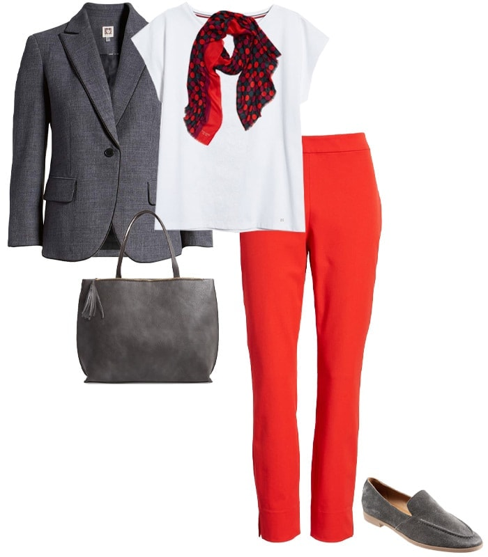Outfit combining gray with red | 40plusstyle.com
