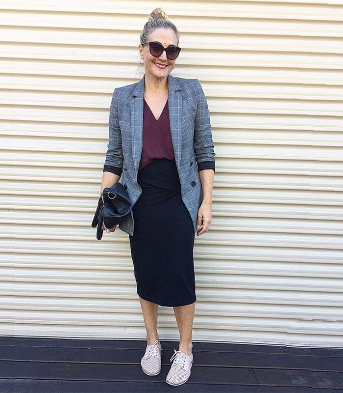 teaming a blazer with your black skirt | 40plusstyle.com