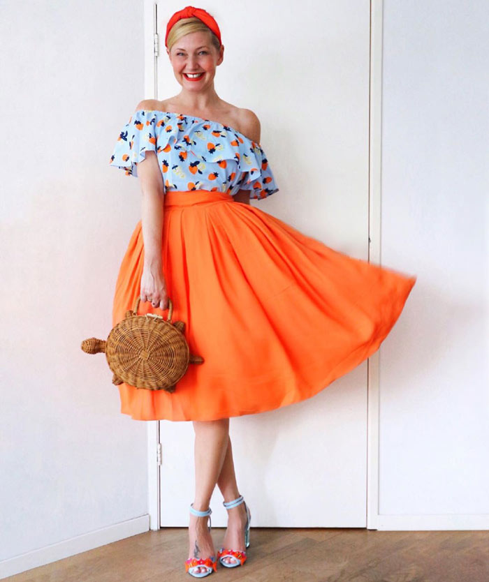 a retro-style blue and orange outfit | 40plusstyle.com