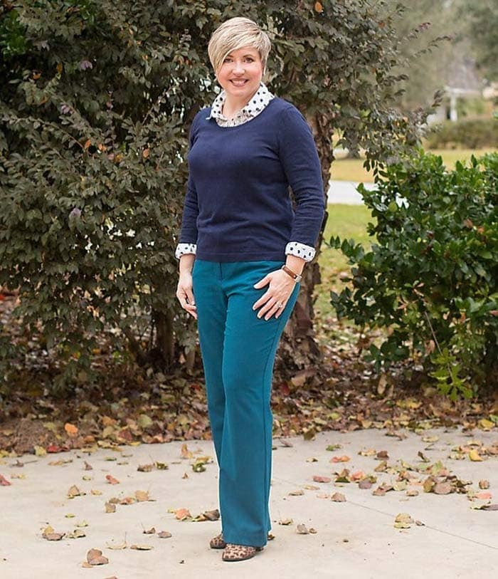 teaming navy with polka dots | 40plusstyle.com