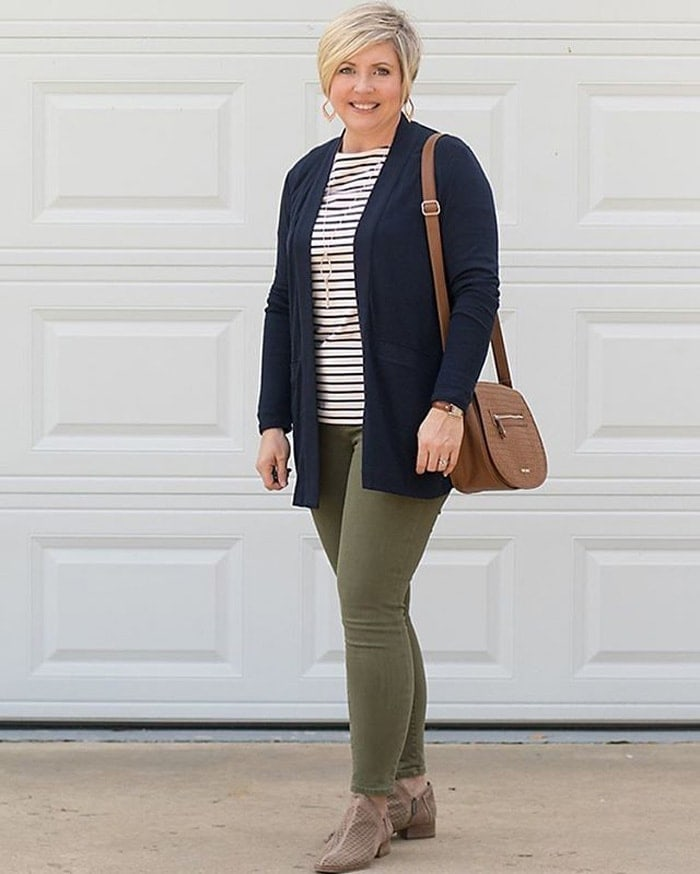 wearing booties, stripes and skinny jeans for spring | 40plusstyle.com