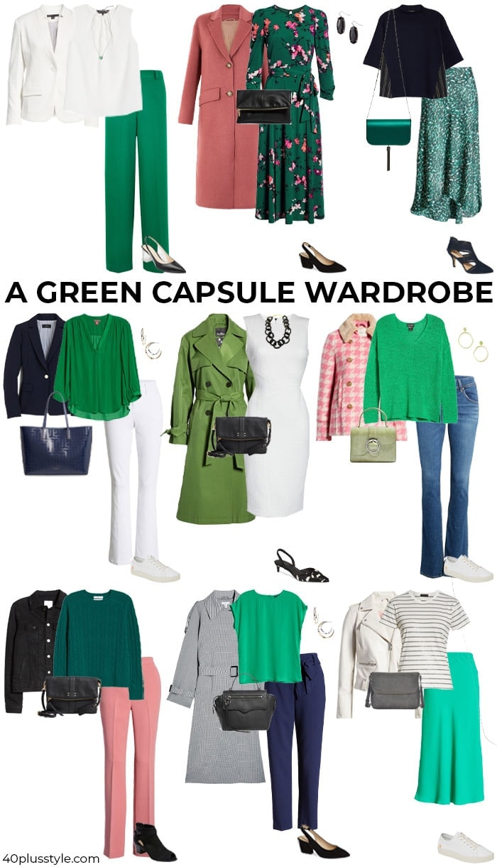 A green capsule wardrobe | 40plusstyle.com