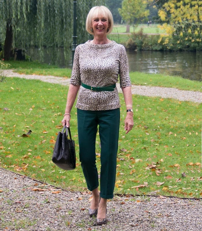 wearing green and animal print | 40plusstyle.com