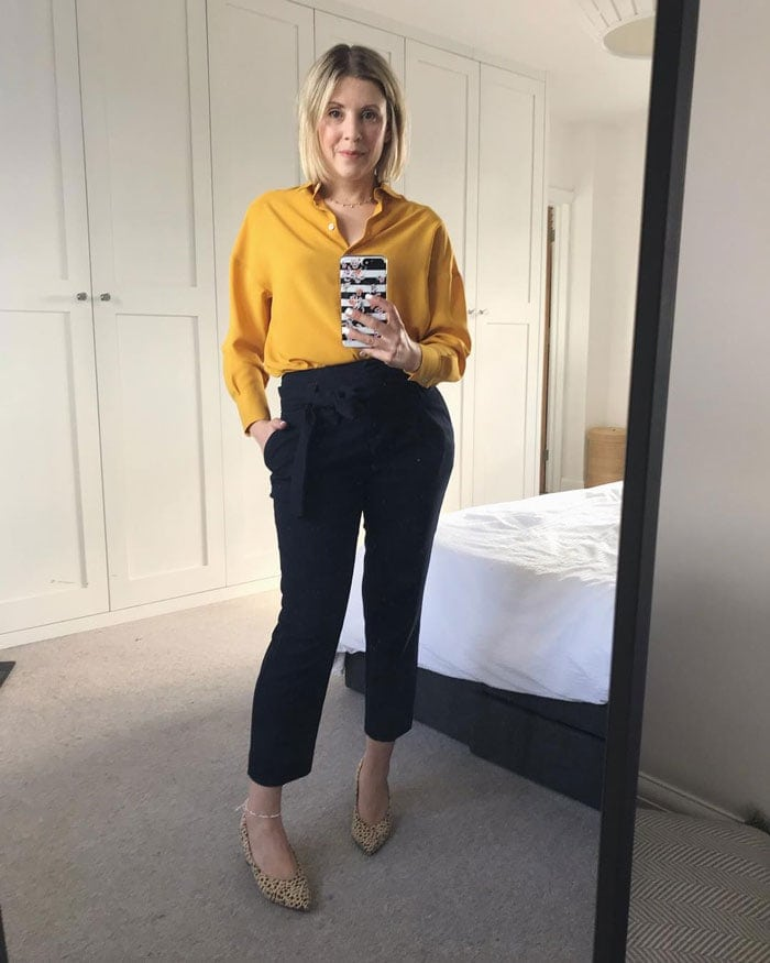 High-waist, belted, flared pants are perfect for an hourglass | 40plusstyle.com