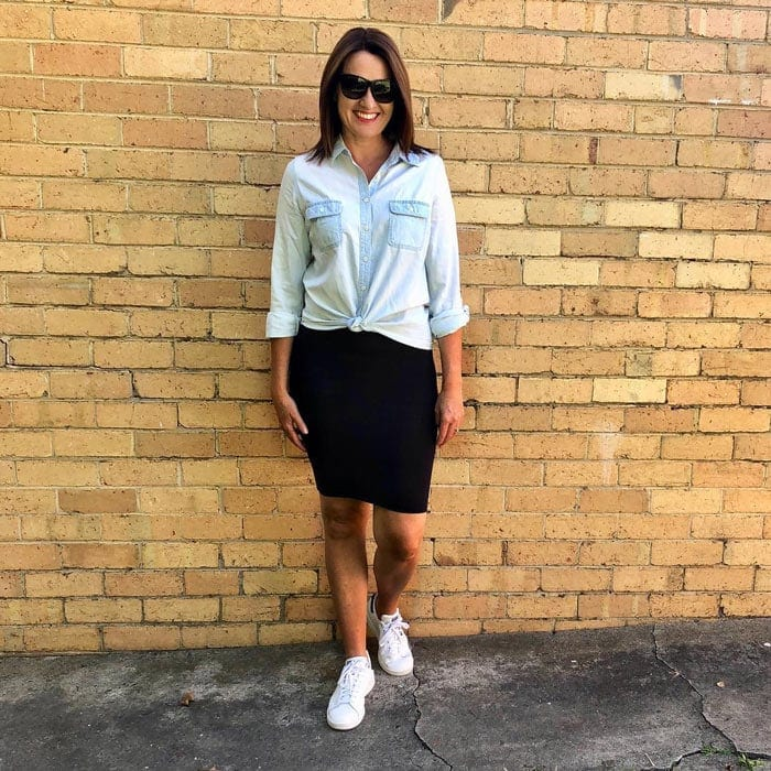 how to wear denim with classic pencil skirt | 40plusstyle.com