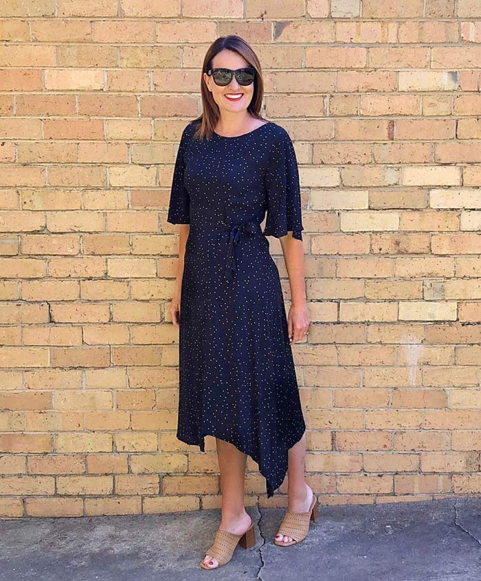 polka dot dress and mules outfit | 40plusstyle.com