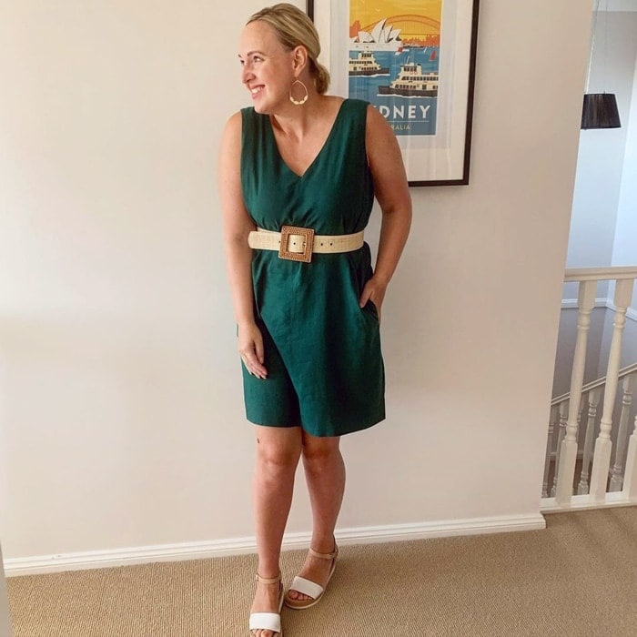 green dress worn with beige accessories | 40plusstyle.com