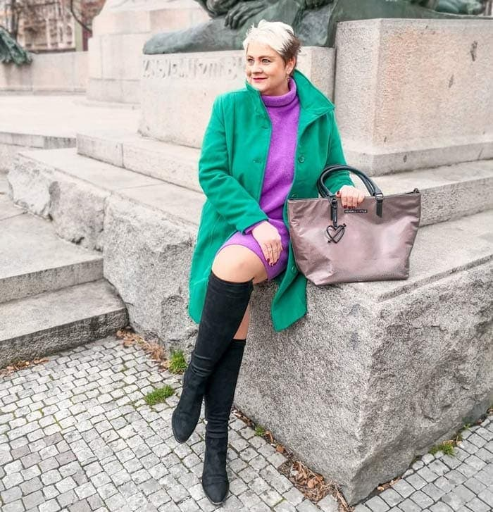 wearing green with purple | 40plusstyle.com