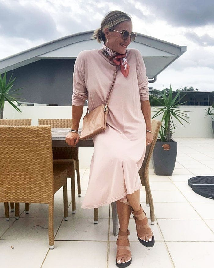wearing a pink dress with a scarf | 40plusstyle.com