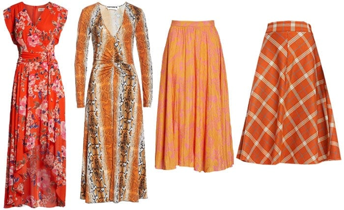 Orange printed dresses and skirts | 40plusstyle.com