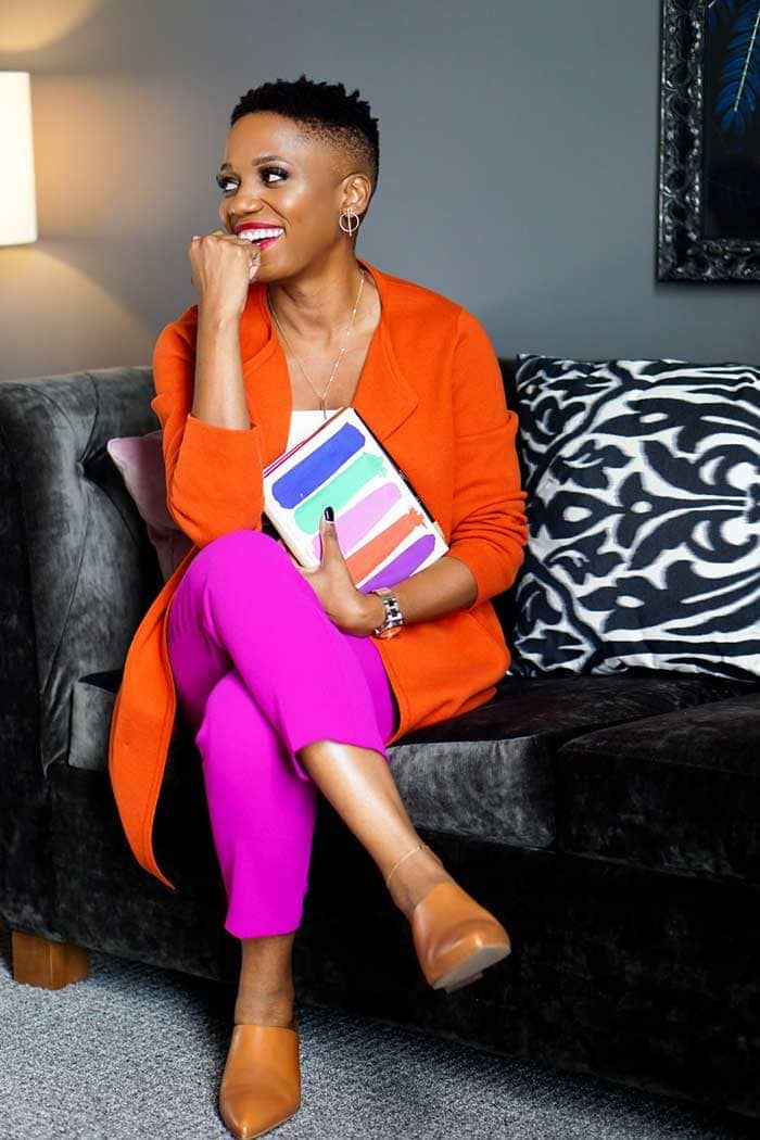 wearing orange with purple | 40plusstyle.com