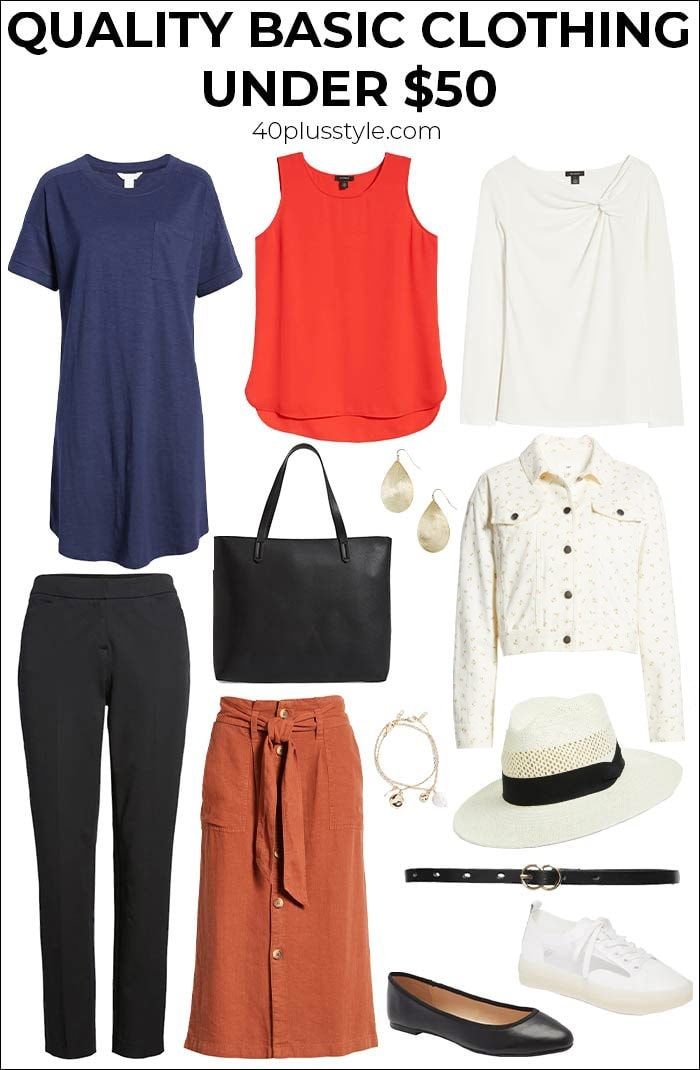 Quality basic clothing under $50 to create everyday outfits you will want to wear all day | 40plusstyle.com