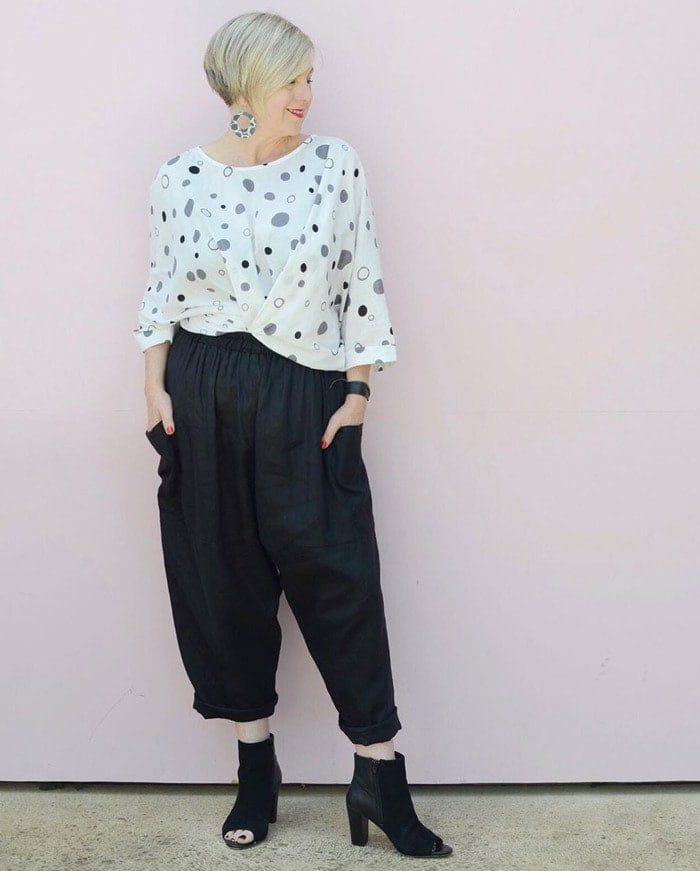 wearing wide-leg cropped pants | 40plusstyle.com
