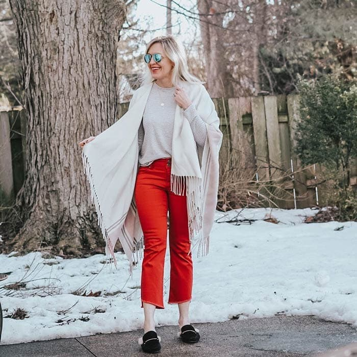 red cropped pants with neutrals | 40plusstyle.com