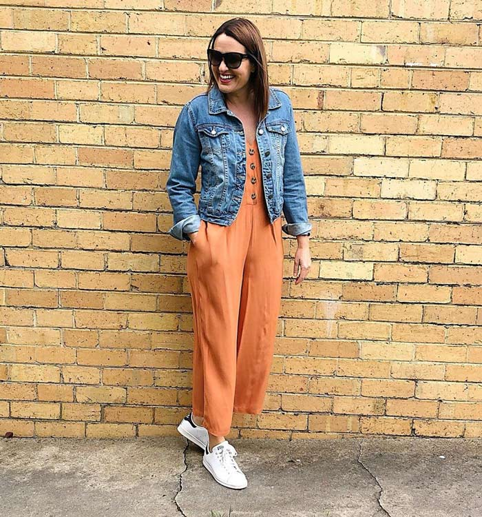 a denim jacket and jumpsuit outfit | 40plusstyle.com