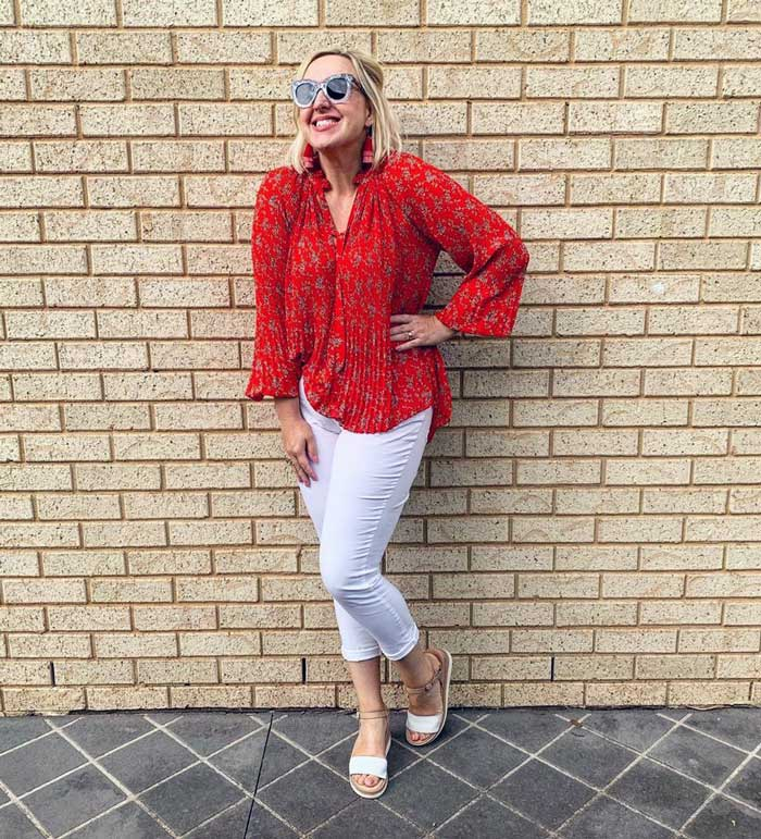 patterned red top to hide a belly | 40plusstyle.com