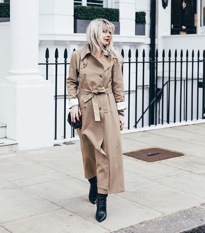 a trench coat is a flattering style for the rectangle shape | 40plusstyle.com