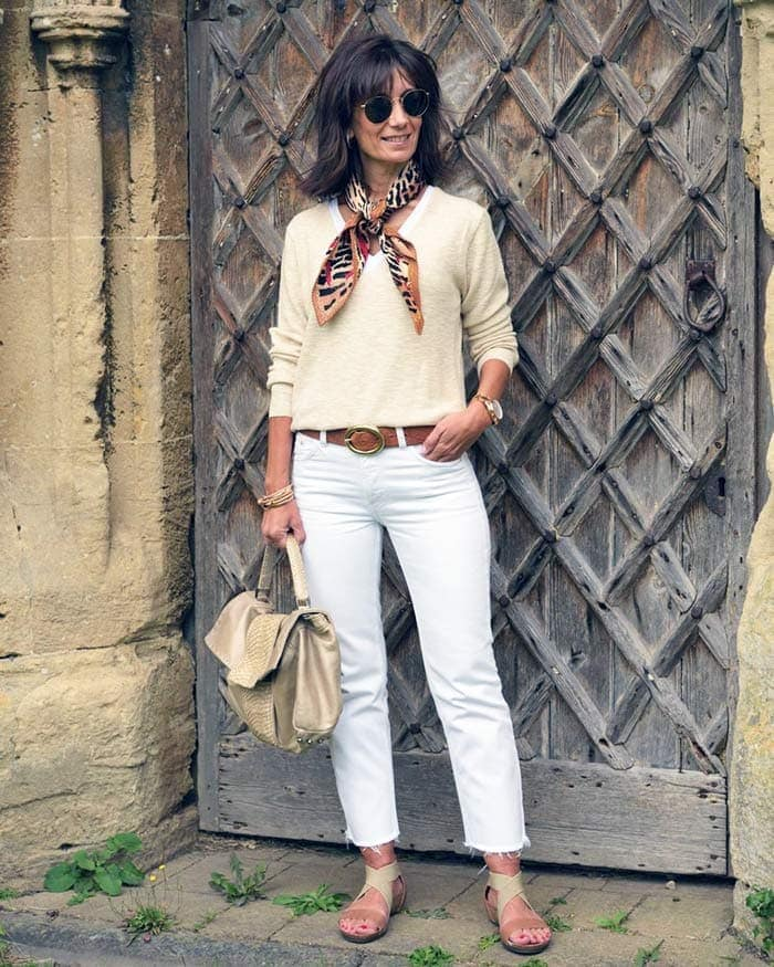 accessorizing a casual outfit with a scarf | 40plusstyle.com