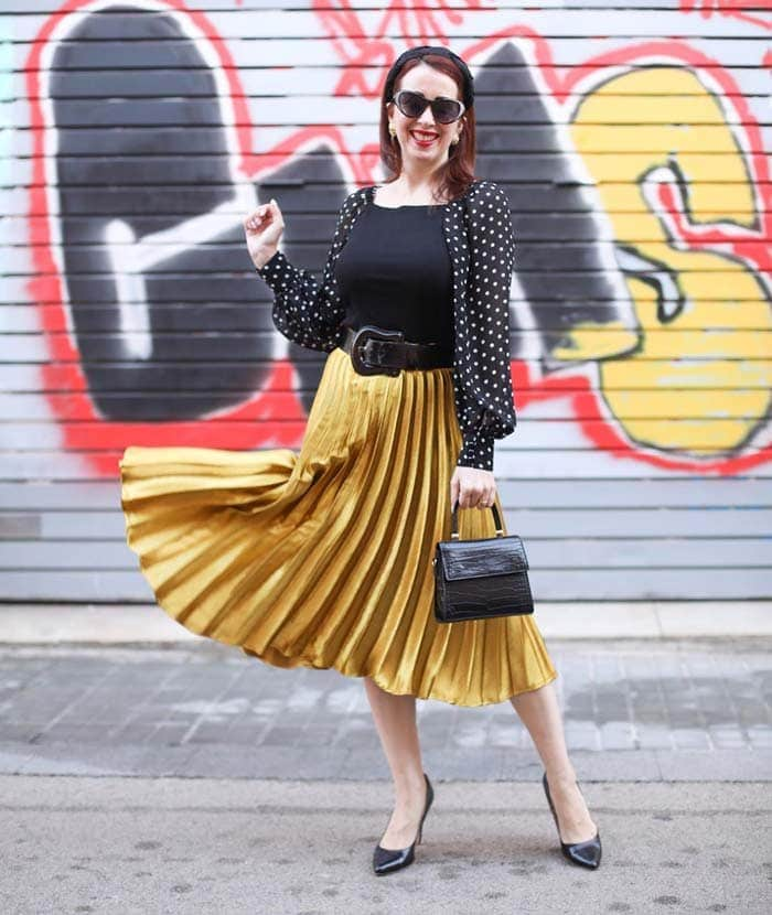 polka dot cardigan with pleated skirt | 40plusstyle.com
