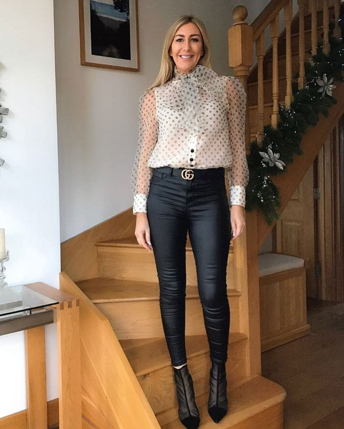 polka dot outfits - sheer bow tie blouse with skinny jeans | 40plusstyle.com